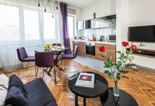Apartmani Beograd | Apartman A38 | Centar stan na dan Beograd - Dnevni boravak, trpezarija i kuhinja