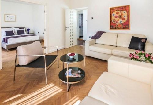 Apartmani Beograd | Luksuzni apartmani Beograd | Apartman A14 - Dnevni boravak sa pogledom na spavaću sobu