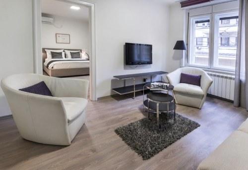 Apartmani Beograd | Apartmani na dan Beograd | Apartman A26 - Dnevni boravak i pogled na spavaću sobu