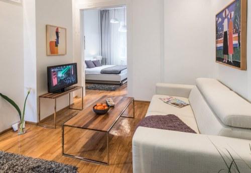 Apartmani Beograd | Pešačka zona | Apartman A12 - Dnevni boravak i pogled ka spavaćoj sobi