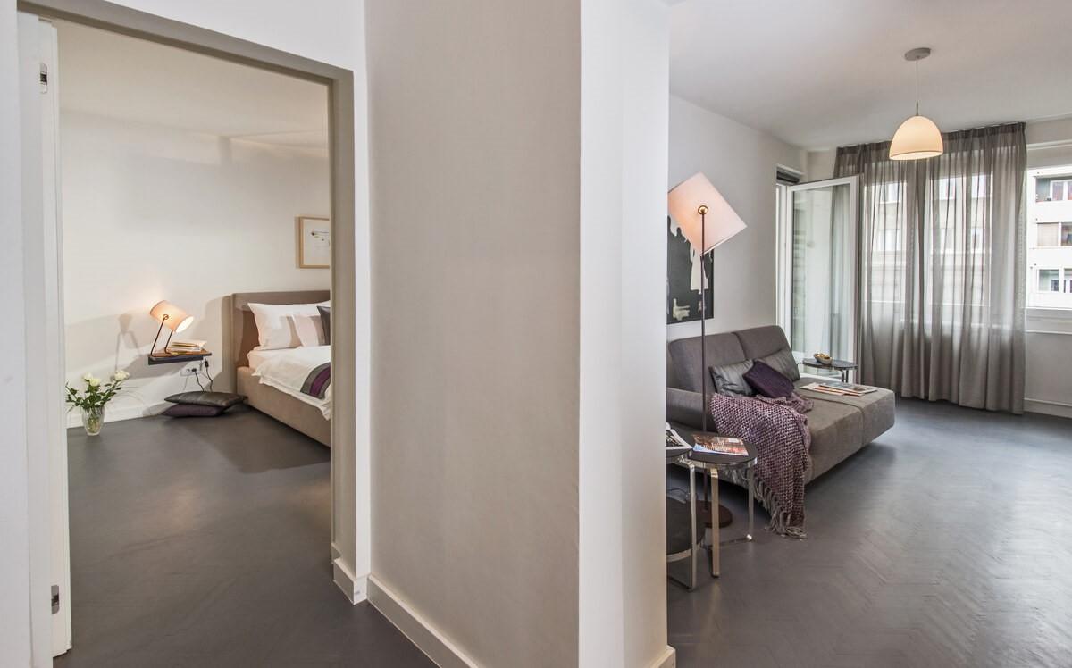 Apartmani Beograd | Luksuzni smeštaj Beograd | Apartman A10 - Dnevni boravak i spavaća soba