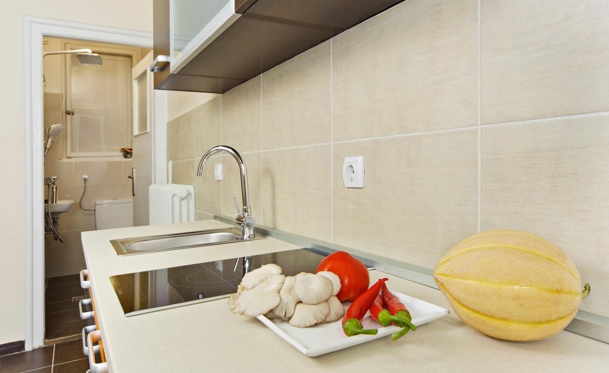 Apartmani Beograd | Apartman A20 | Strogi centar Knez Mihailova - Pogled na kuhinju i kupatilo