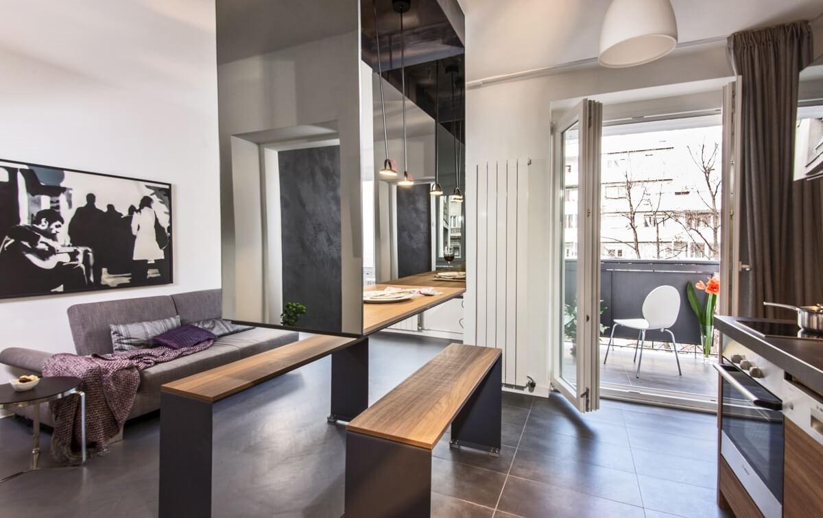 Apartmani Beograd | Luksuzni smeštaj Beograd | Apartman A10 - Dnevni boravak, trpezarija i kuhinja