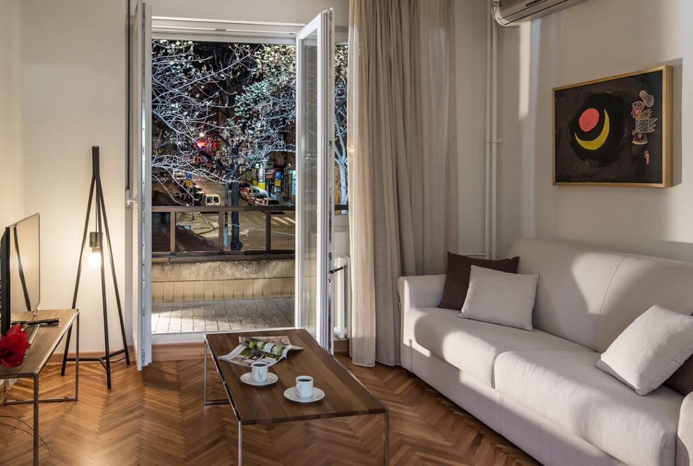 Apartmani Beograd | Smeštaj | Apartman A28 - Dnevni boravak sa pogledom na terasu