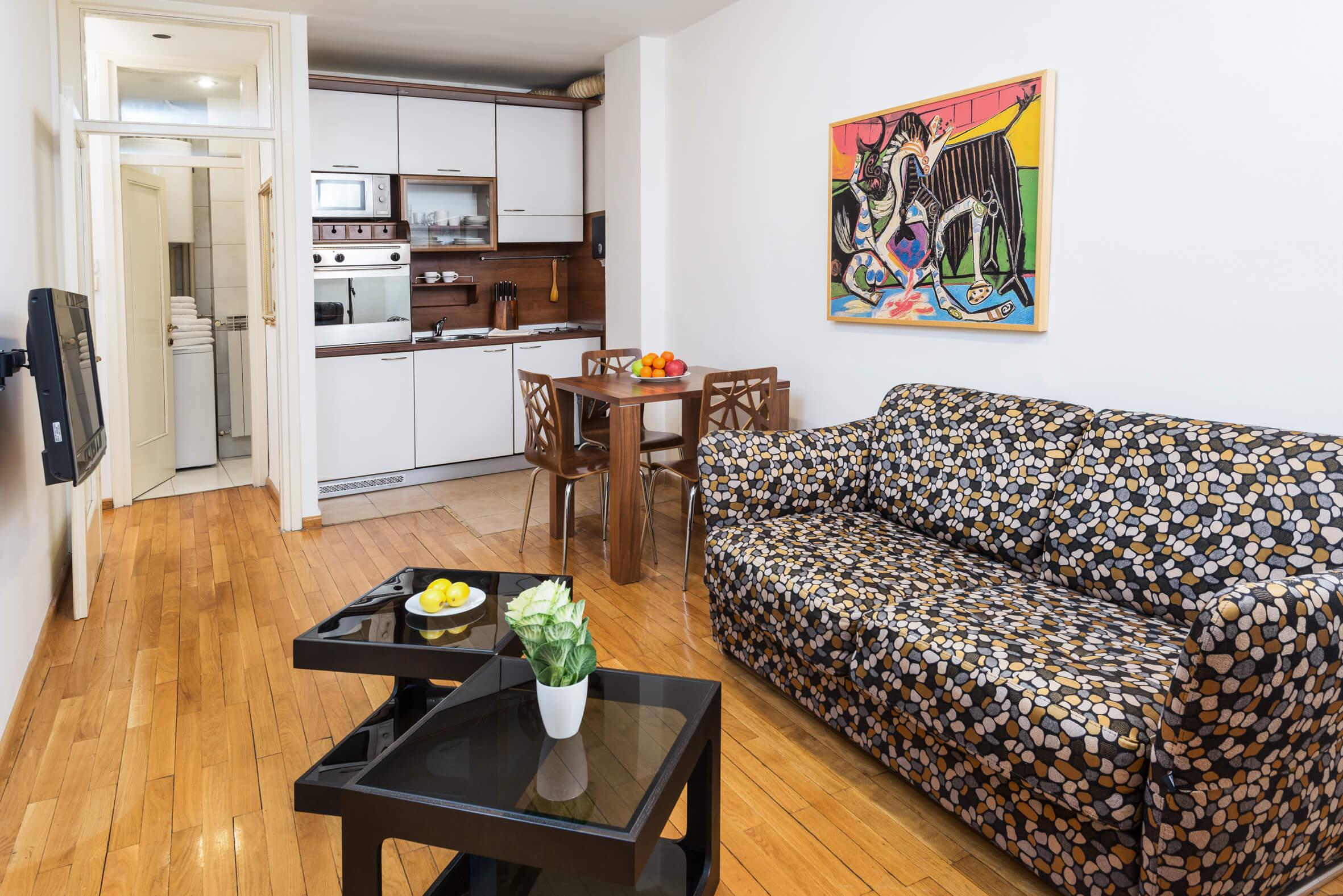 Apartmani Beograd | Stan na dan Beograd centar | Apartman A25 - Dnevni boravak, trpezarija i kuhinja